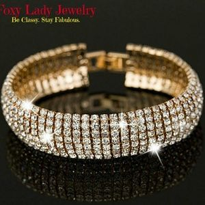 Jewelry - Rhinestone Bracelet -Silver plated or Gold Colored